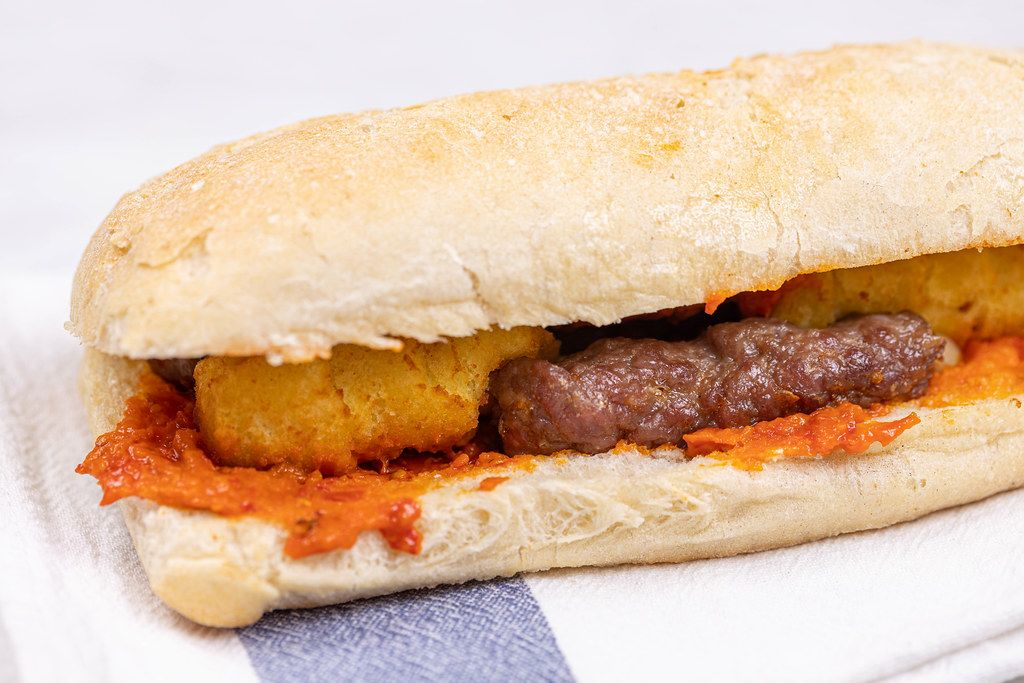 Sandwich with Potatoe Crockets Kebabs and Paprika Spread