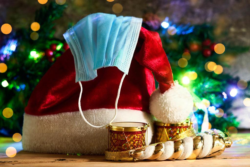 Santa cap, xmas toys and face mask