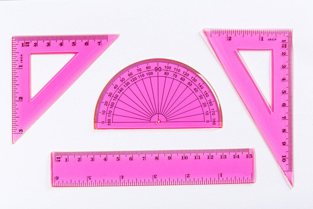 School drawing tools-triangle, ruler, protractor