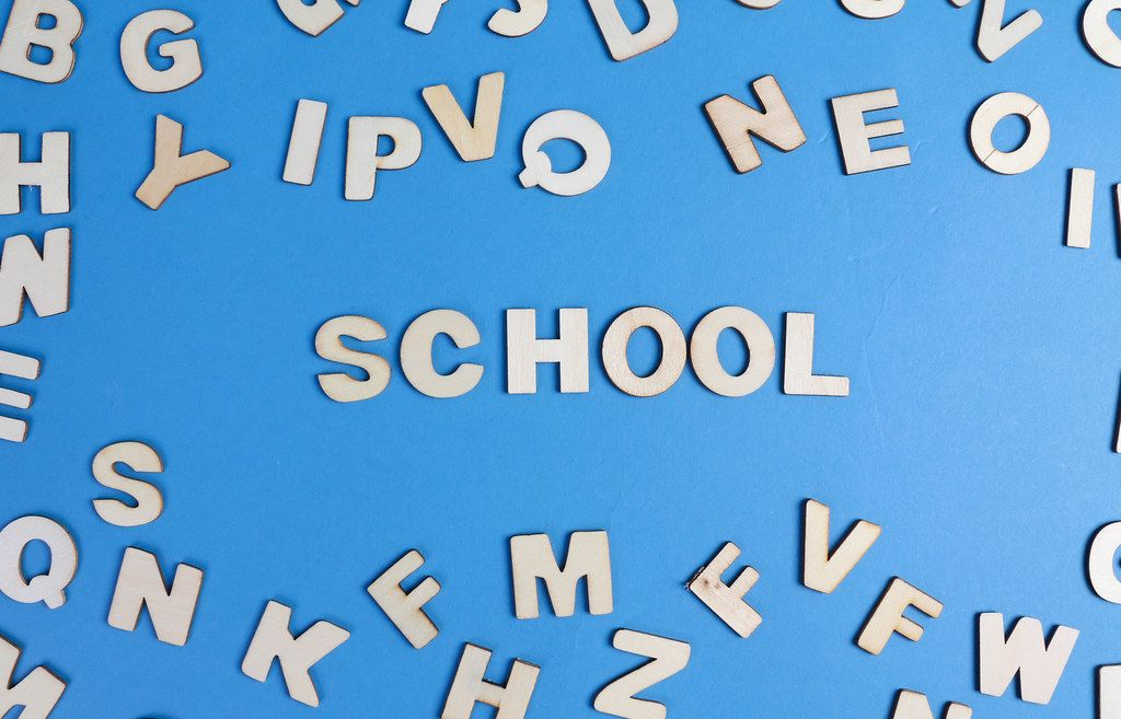 School written with wooden letters