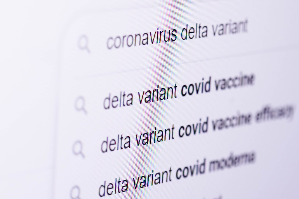 Searching information about new coronavirus delta variant