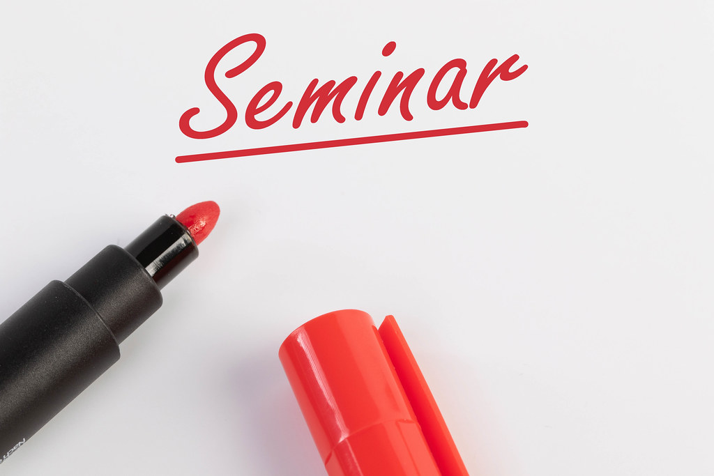 Seminar text with red marker pen