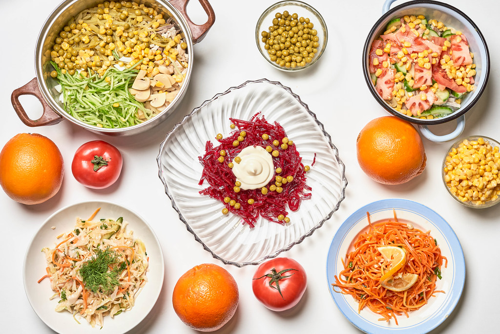 Set of different delicious salads with vegetables