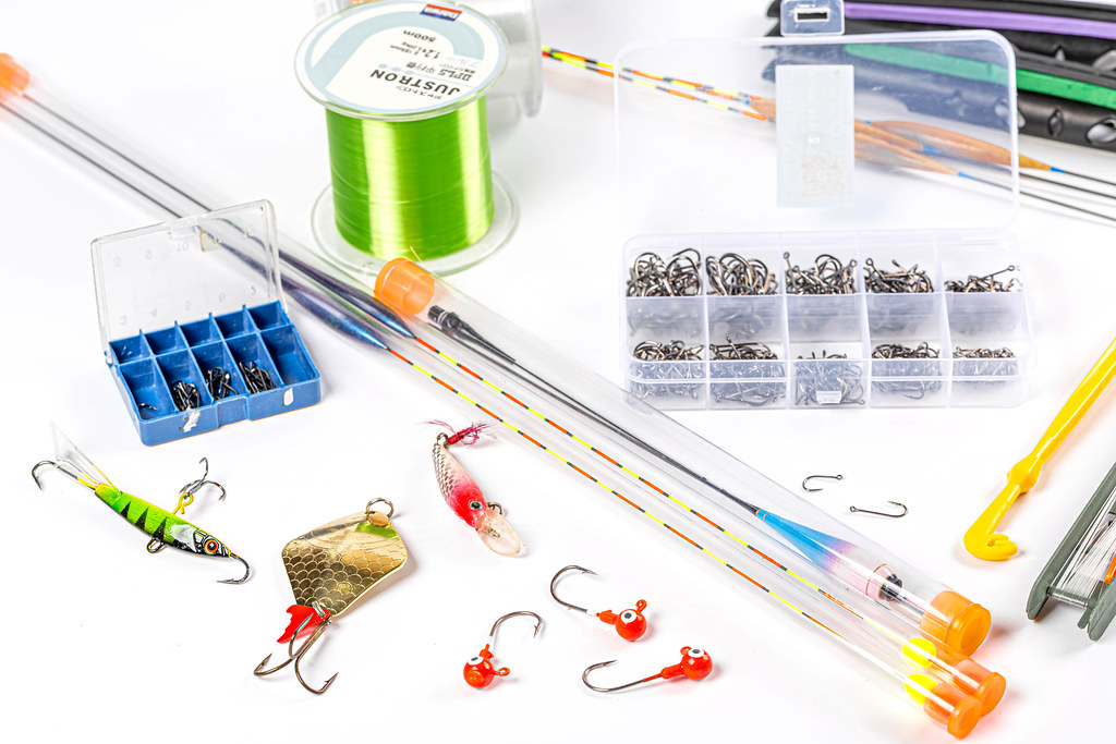 Set with fishing tackle and lures