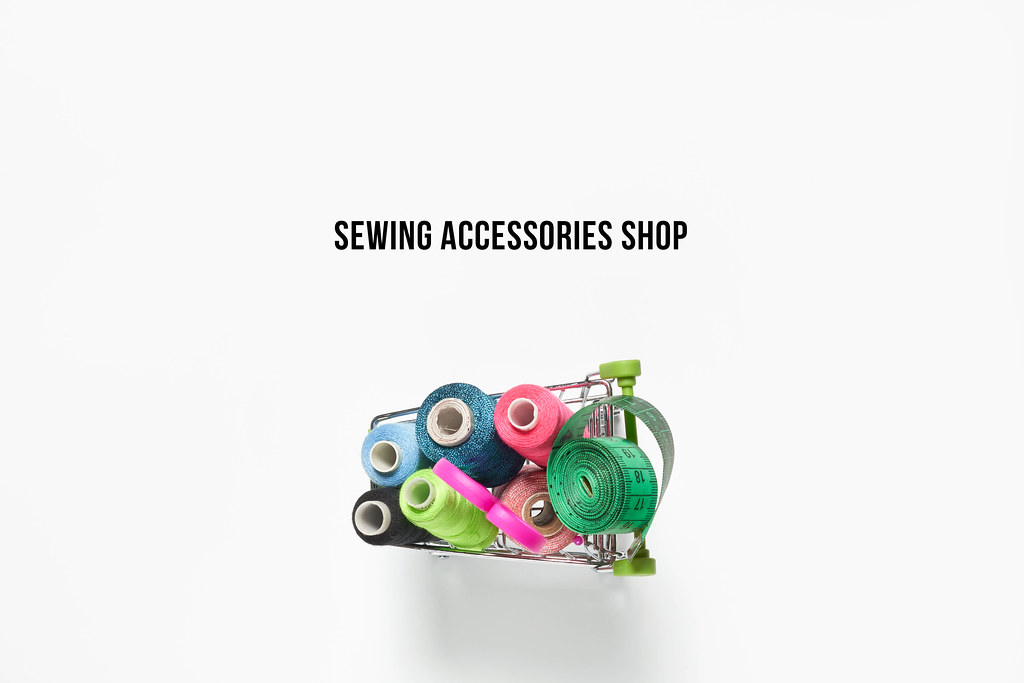 Sewing accessories shop - shopping cart full of sewing supplies