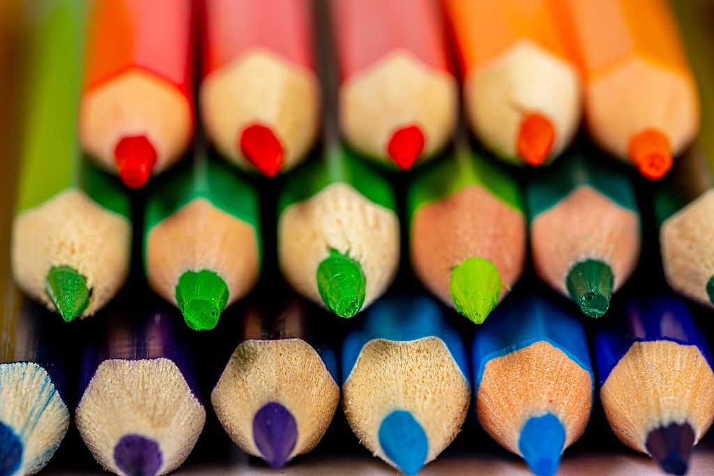 Sharp colored pencil tips, close-up