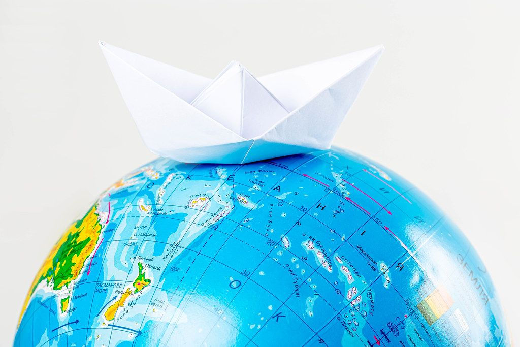 Ship from a paper on globe