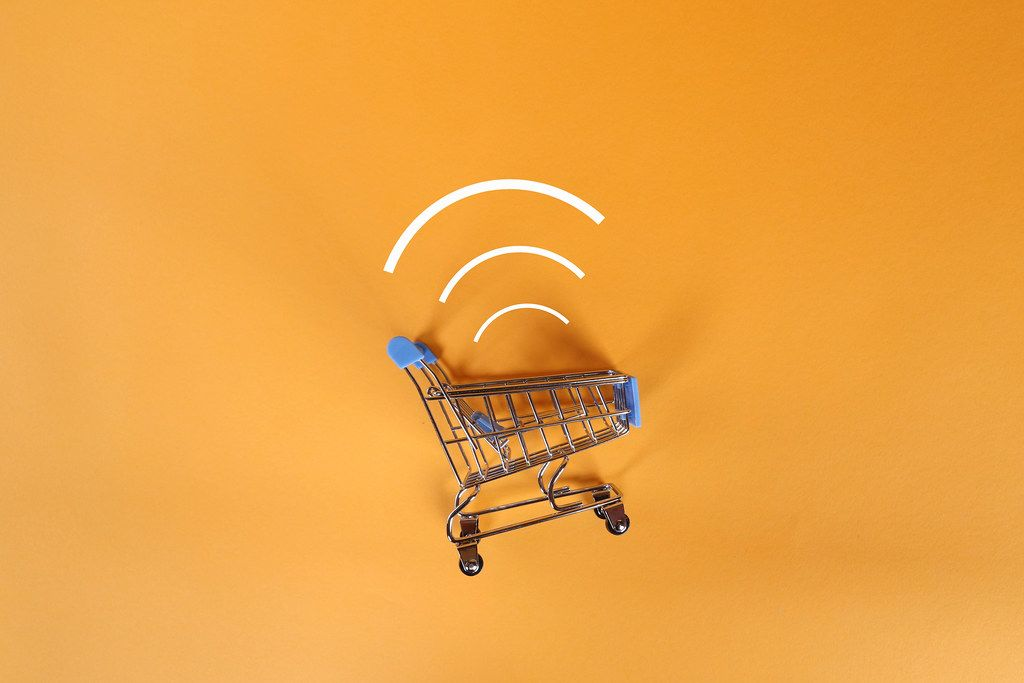 Shopping cart wi-fi symbol