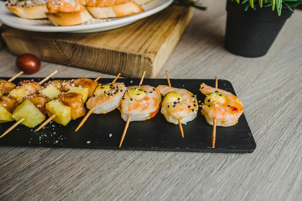 Shrimp Canape Bites On Black Plate