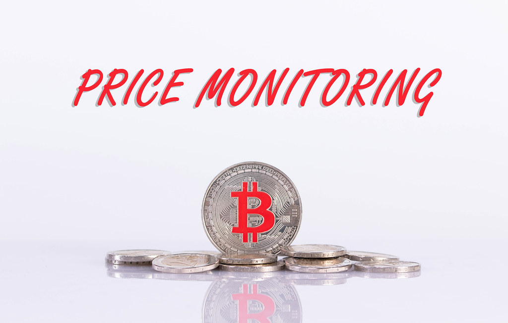 Silver Bitcoin coin with Price Monitorin text on white background
