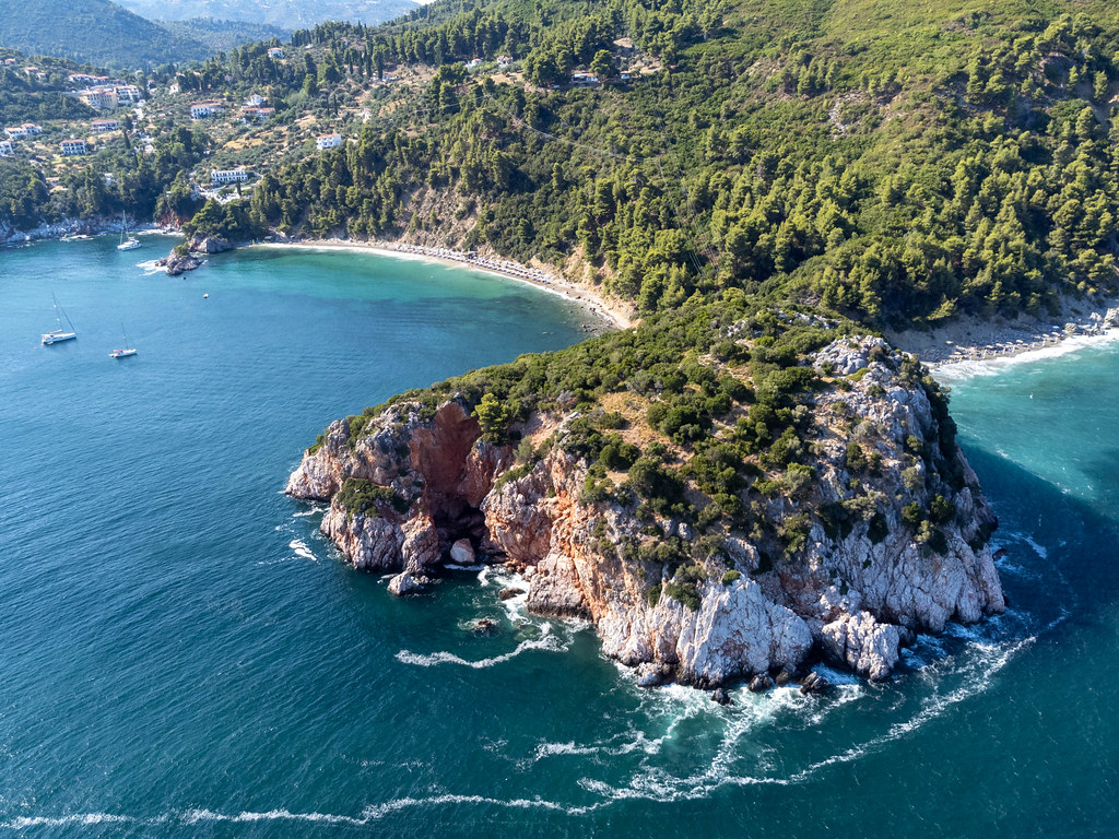 Skopelos, Greece: drone image of the headland where the tomb of Prince Stafylos was found in 1936