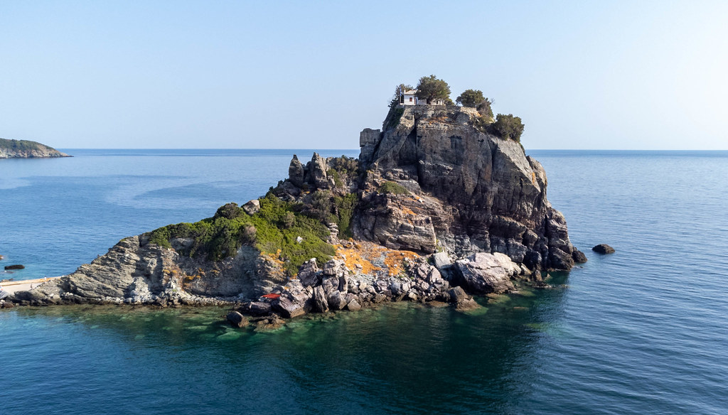Skopelos: the small monastery and chapel of Agios Ioannis, which rise on the rocks right by the sea
