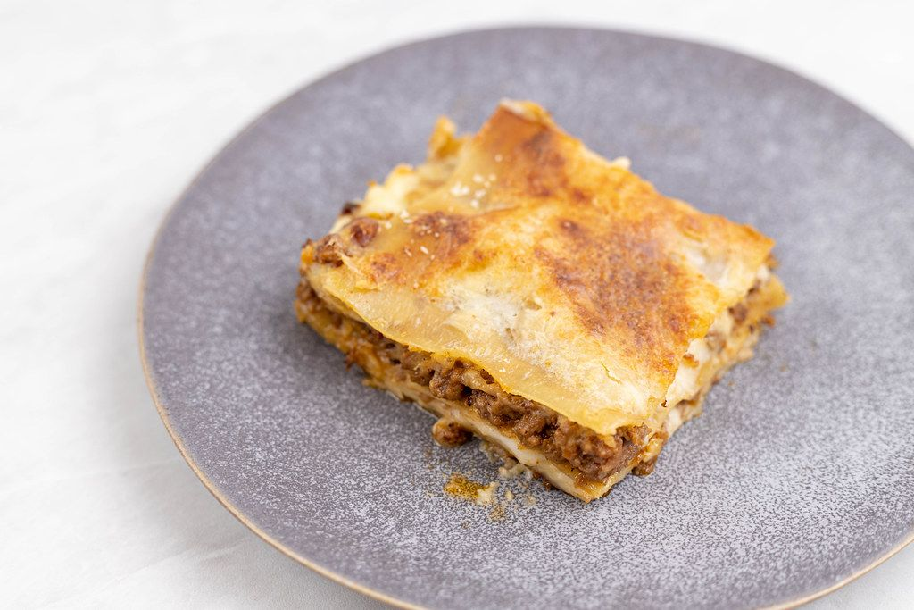 Slice of Lasagna served on the plate