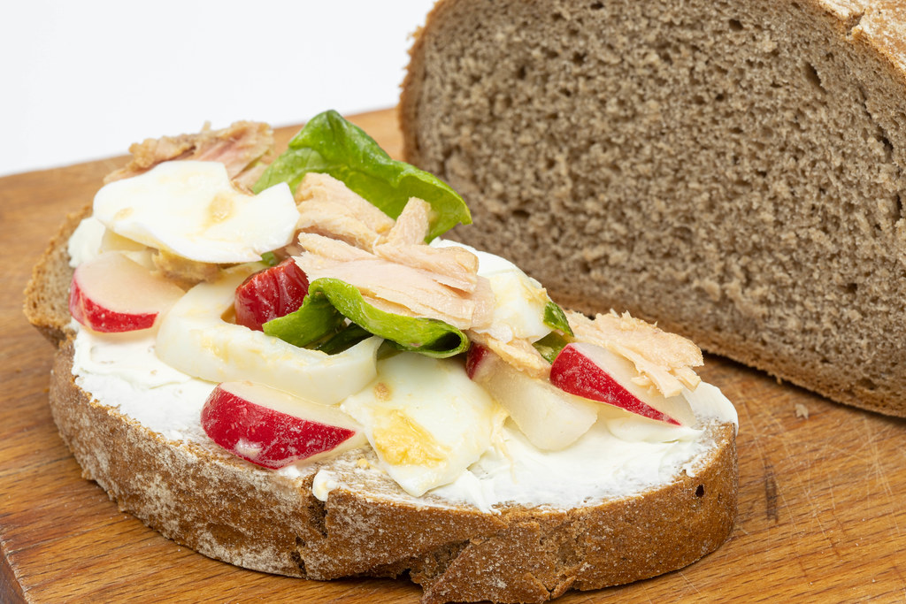 Slice of the bread with Sour Cream and Vegetables