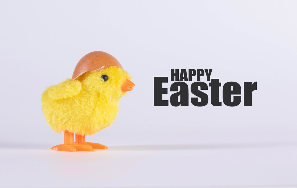 Small yellow chicken with Happy Easter text