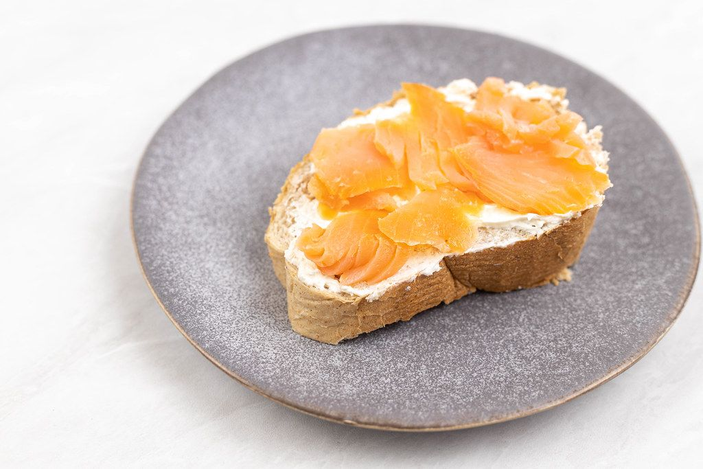 Smoked Salmon served on the bread