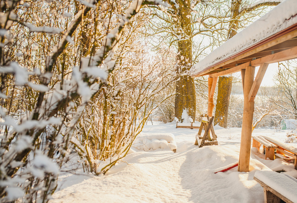 Snowy landscape Of Countryside Terrace And Wood