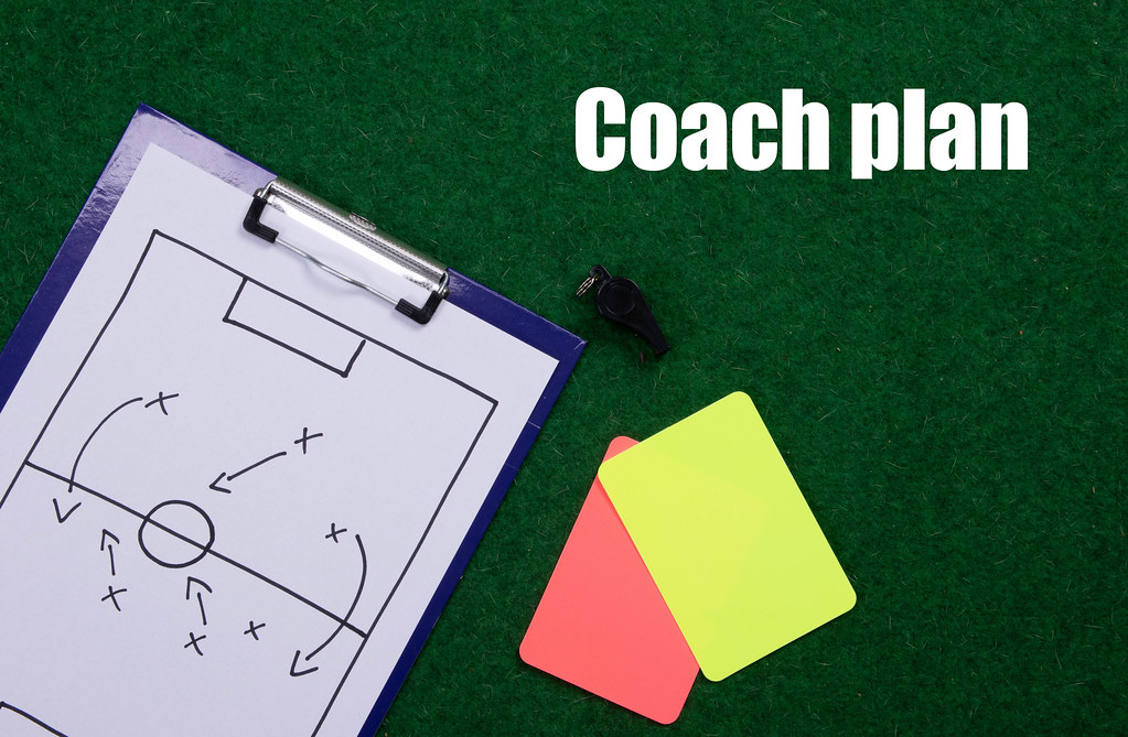Soccer tactics board with referee cards and Coach plan text