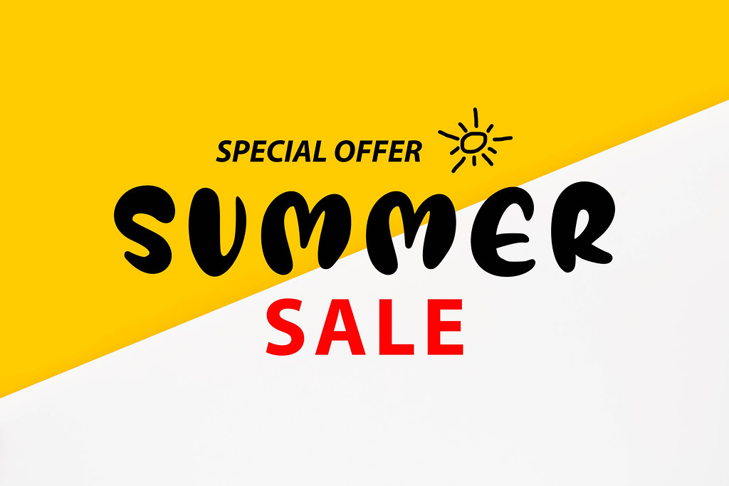 Special offer - Summer sale on bright colorful background