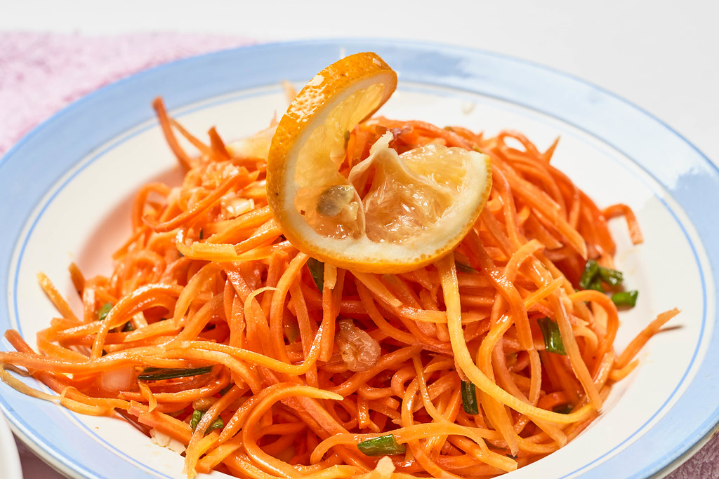 Spicy korean carrot salad with cracked coriander seeds