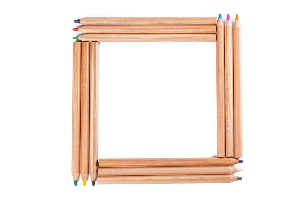 Square made of wooden colored pencils, top view