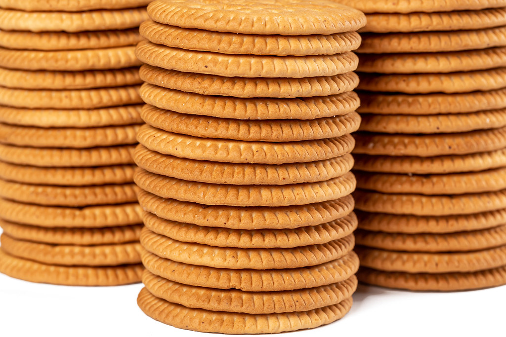 Stacks of cookie crackers, close-up