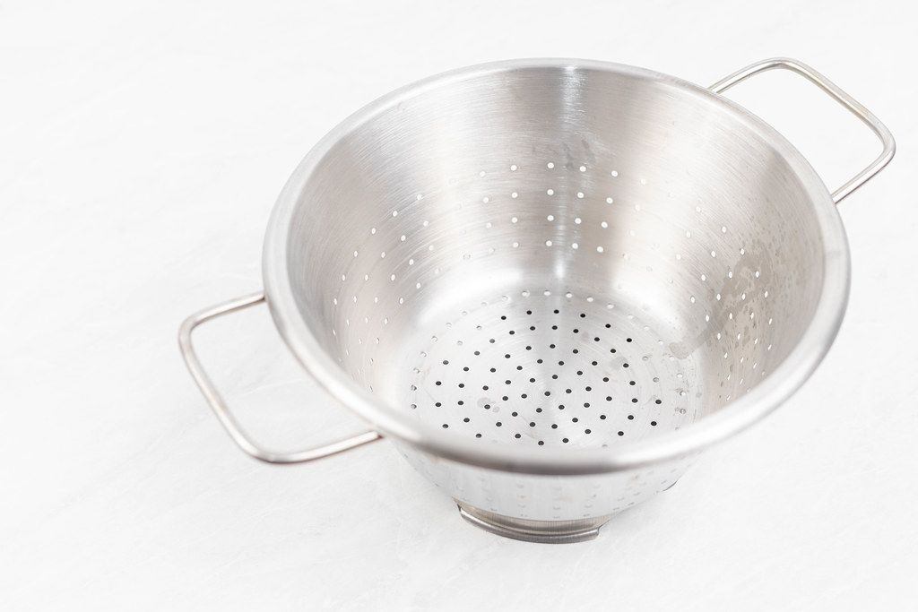 Stainless Steel Strainer on the white background