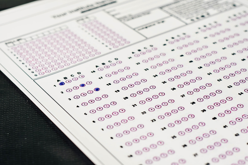 Standardized test exams form with answers bubbled