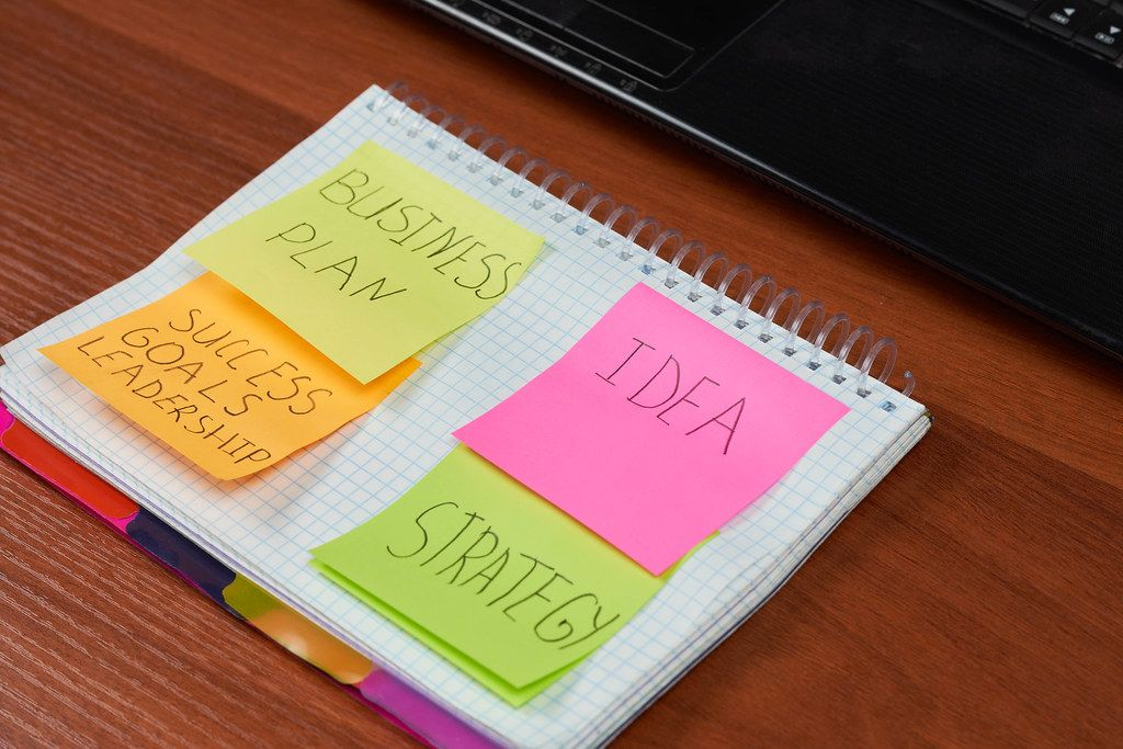 Steps of achieving business goals - Idea, strategy, business plan and success