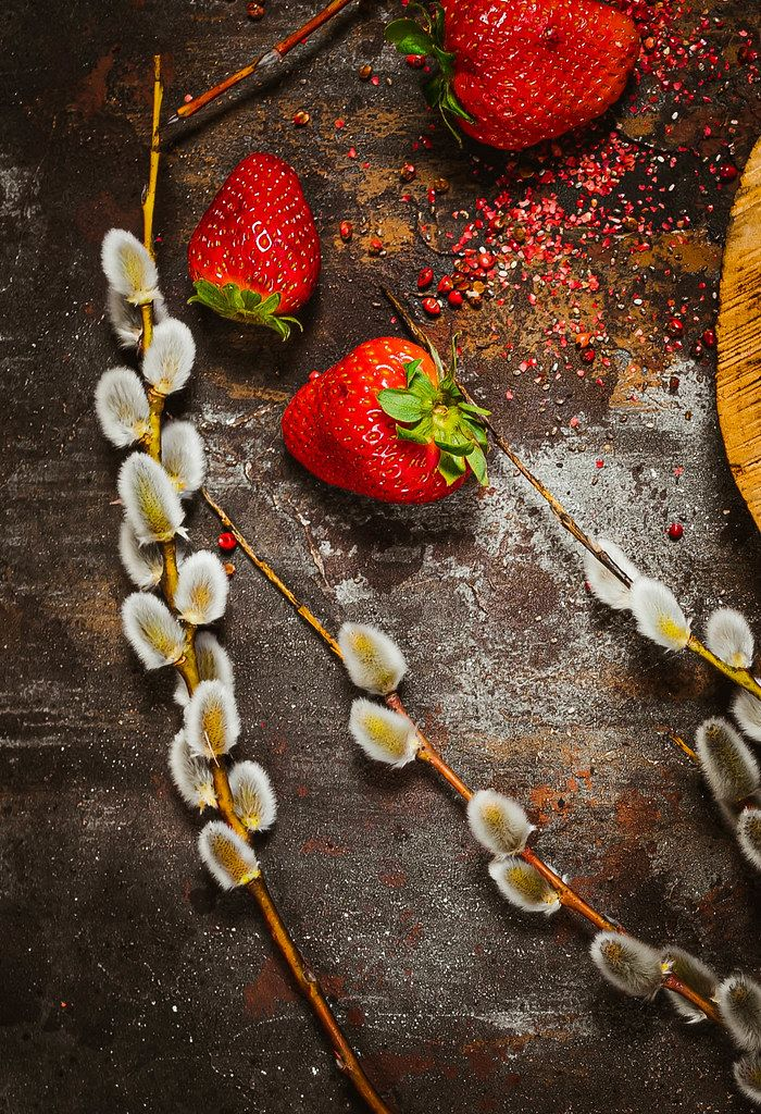 Strawberries With Salix Caprea On Rustic Metallic Background.jpg