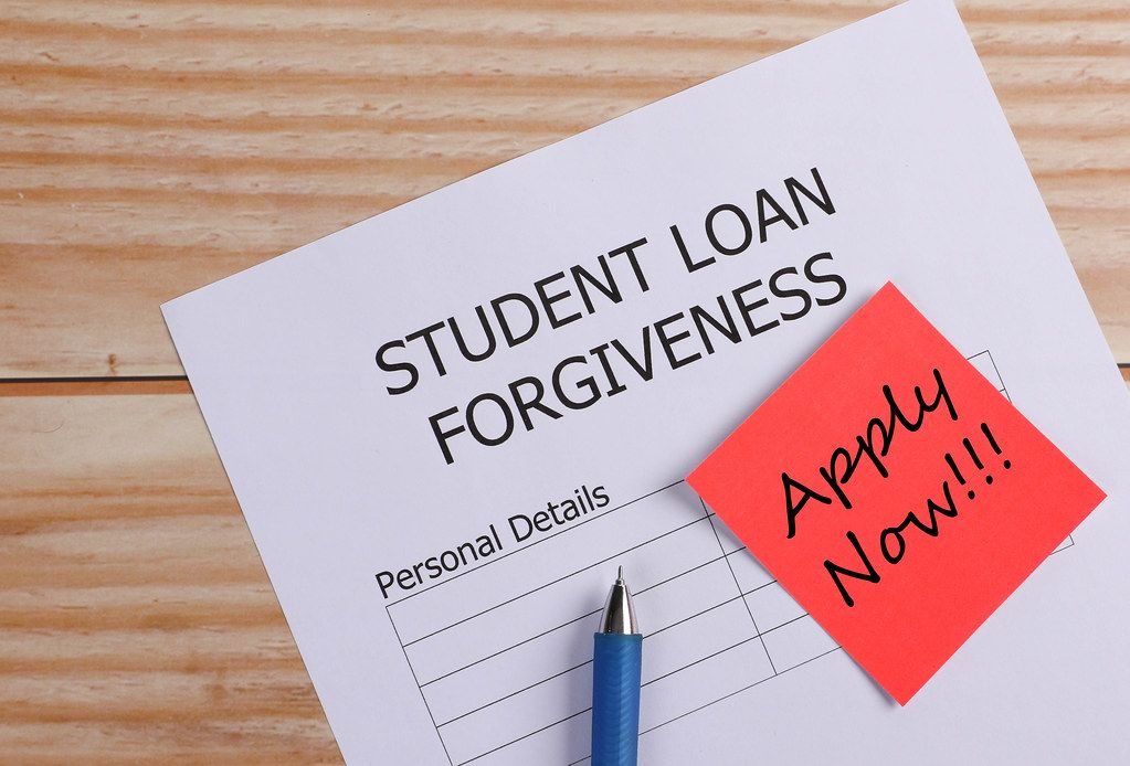 Student Loan Forgiveness application and reminder note