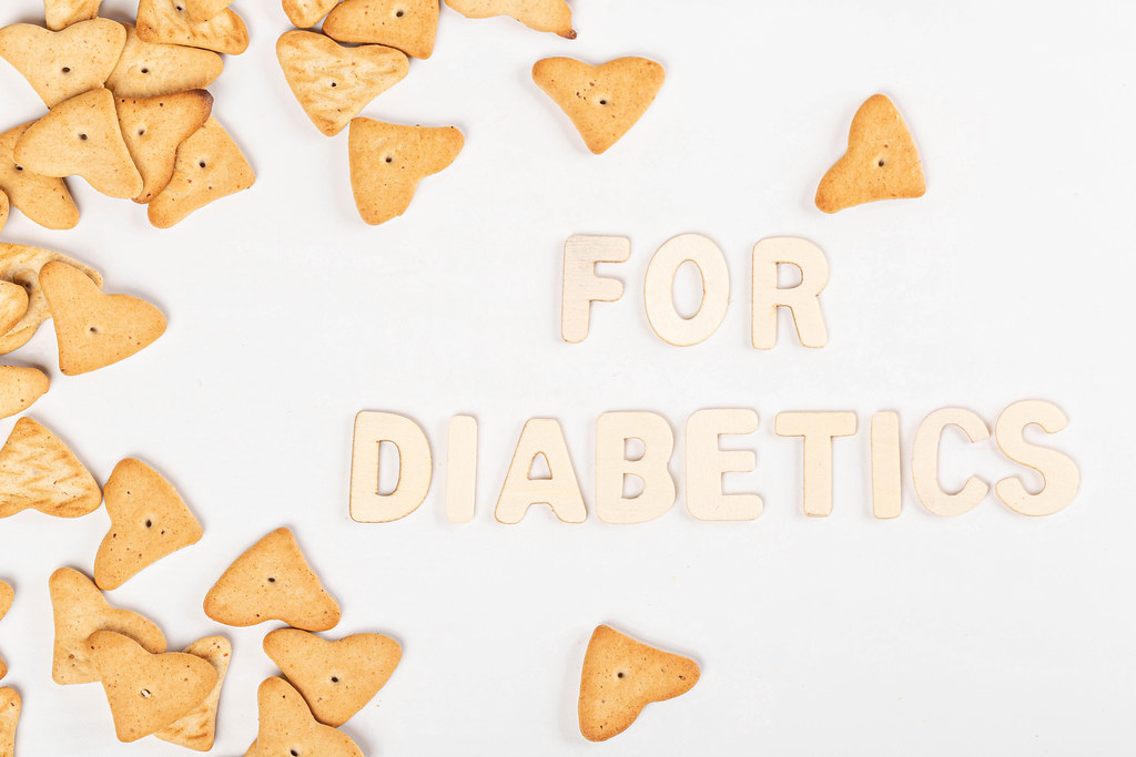 Sugar-free cookies for diabetics on white background