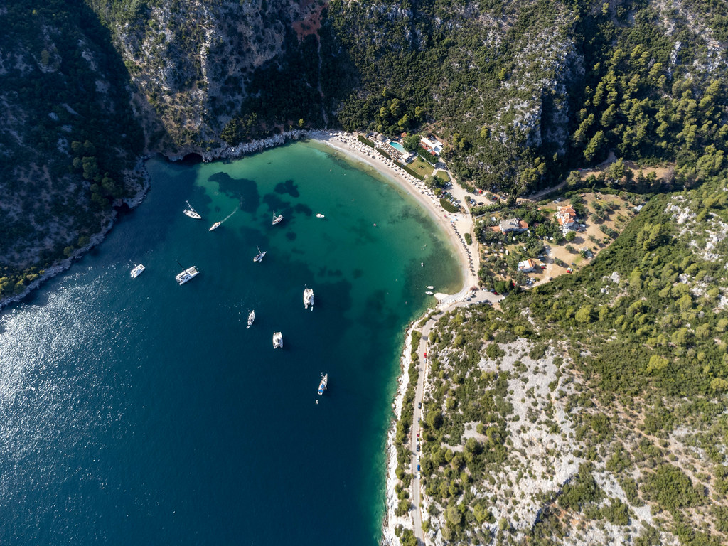 Summer holiday paradise on the Greek island of Skopelos: Limnonari bay seen with a drone