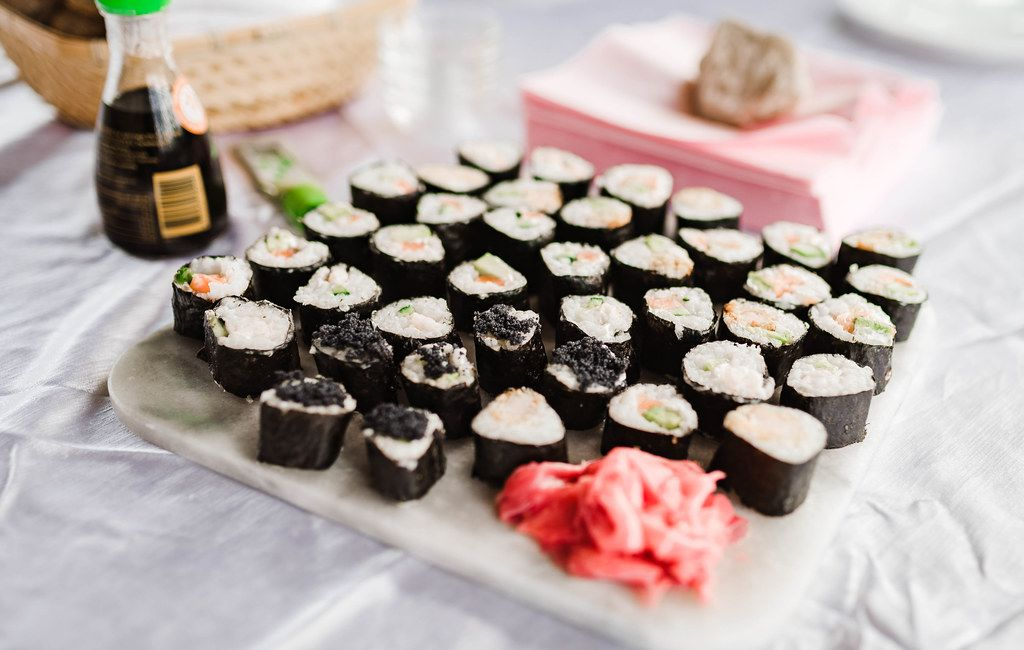Sushi Mix With Ginger On White Table