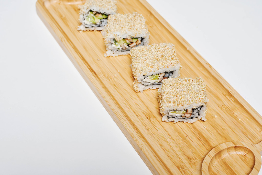 Sushi Set - rolls on a wooden plate