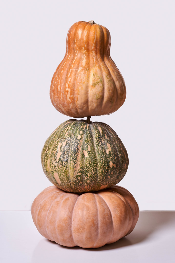Sweet tower made of organic pumpkins