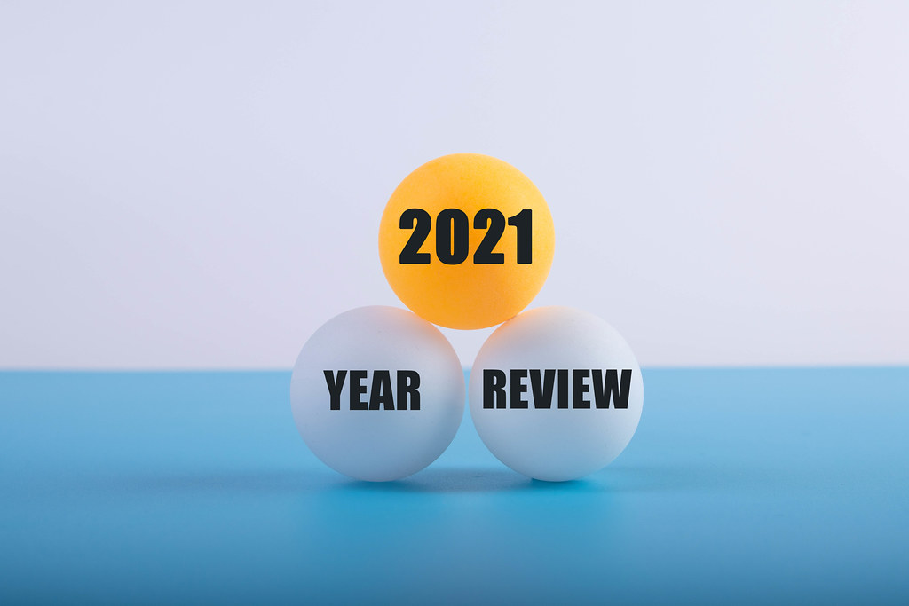 Table tennis balls with 2021 Year review text