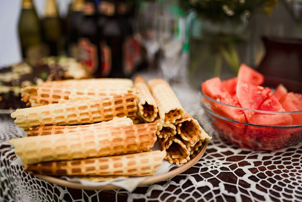 Table With Belgium Waffles And Watermelon