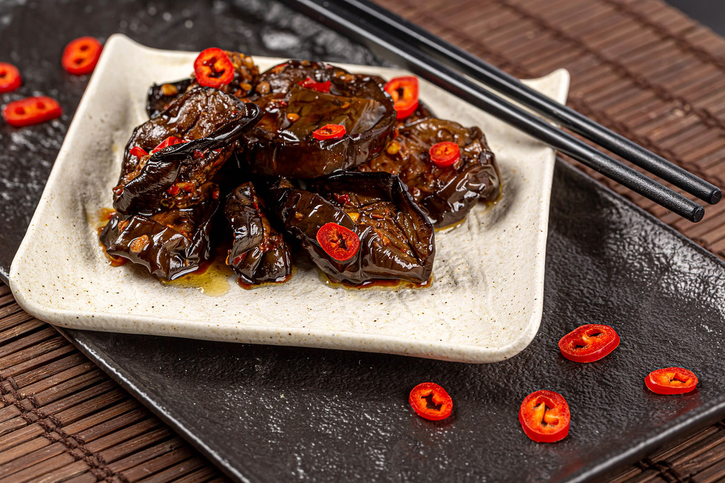 Tasty and spicy eggplant with hot pepper sauce