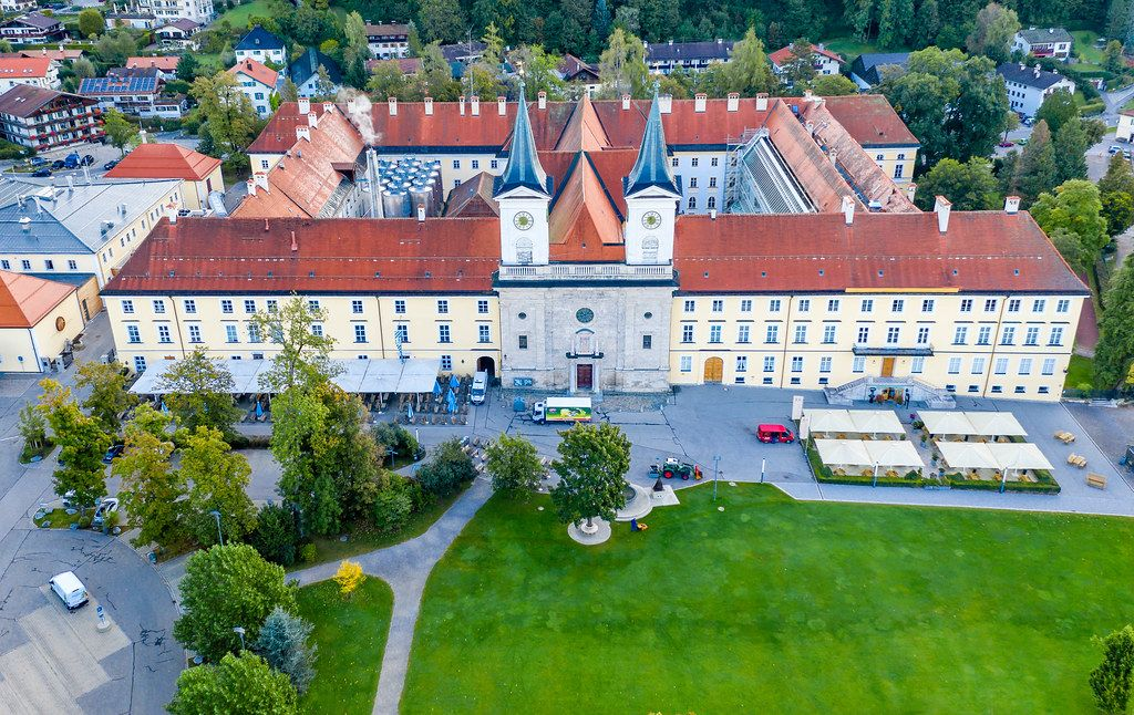Tegernsee Abbey: former Benedictine monastery, now known as Schloss Tegernsee brewery. Aerial pic