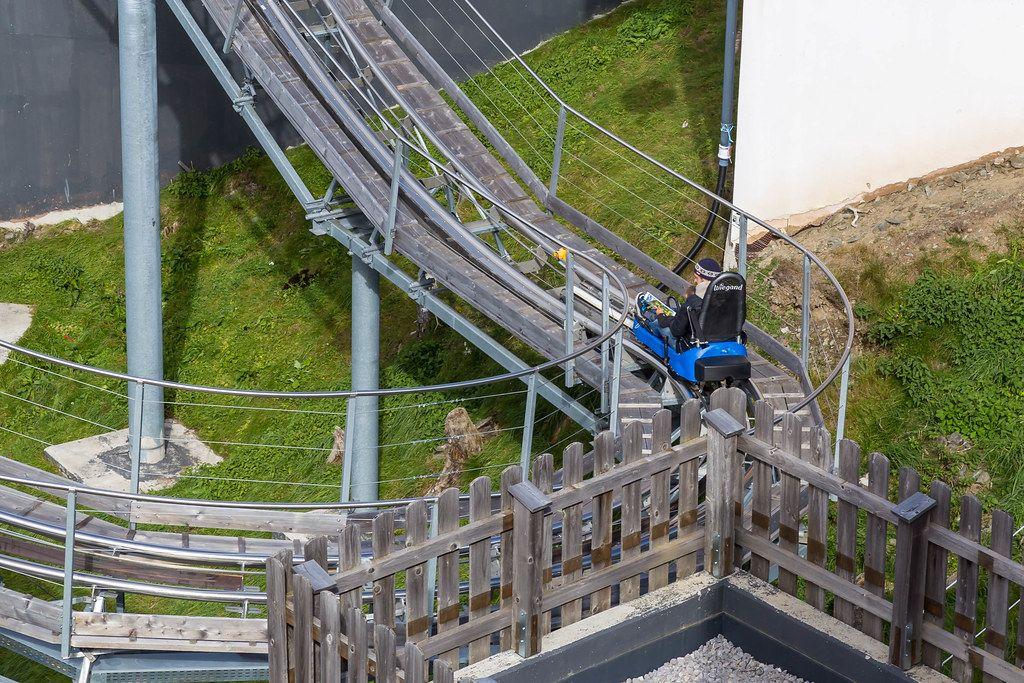 The Alpbachtaler Lauser-Sauser or Alpine Coaster at the top station of the Wiedersbergerhornbahn