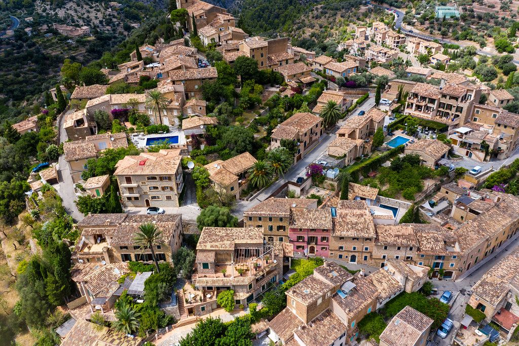 The beautiful houses of Deià seen from the air. Robert Graves made this village his home