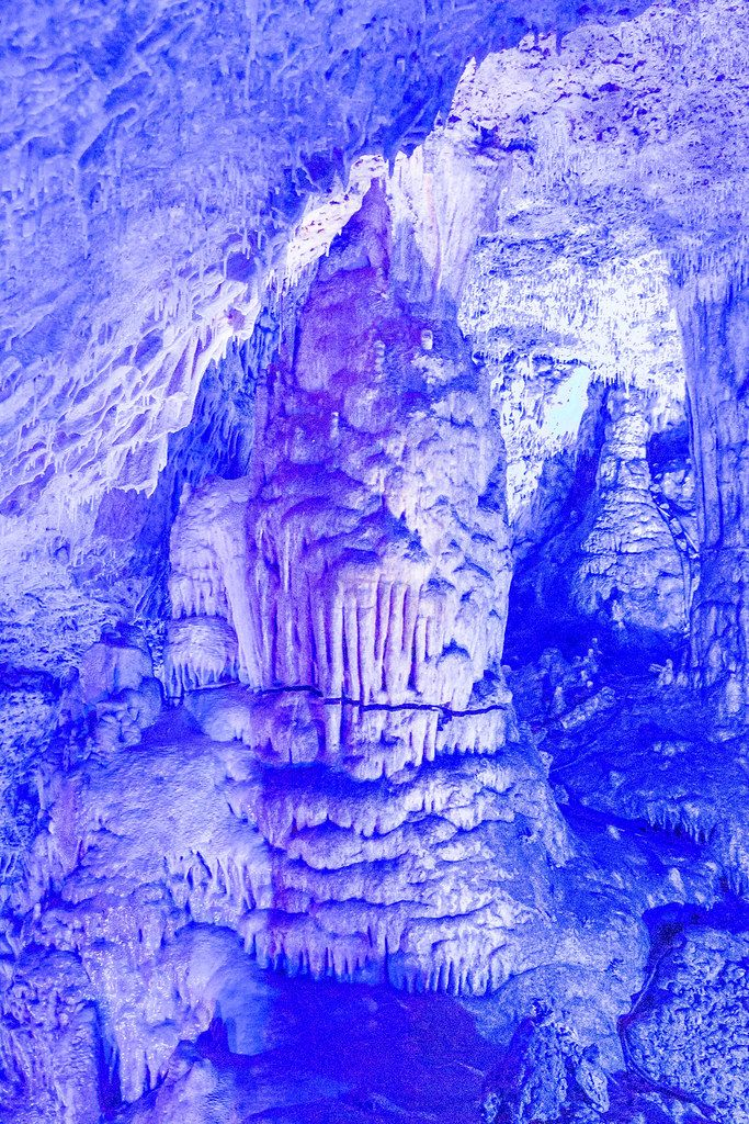 The blue cave, Cuevas del Hams on Mallorca. Cave illuminated by special blue LED lighting technology