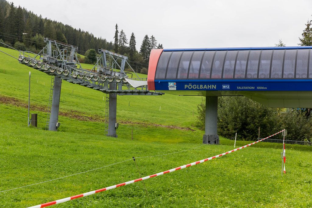 The bottom station of the gondola lift from Inneralpbach to the Wiedersbergerhorn in Austria