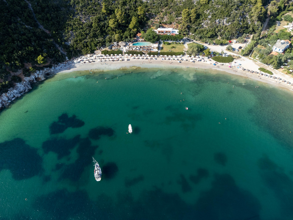 The breathtaking bay of Limnonari on the south coast of Skopelos, Greece. Top view