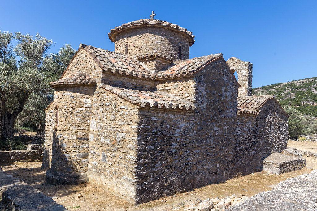 The Byzantine church of Agios Georgios Diasoritis near the village of Halki, Naxos, Cyclades, Greece