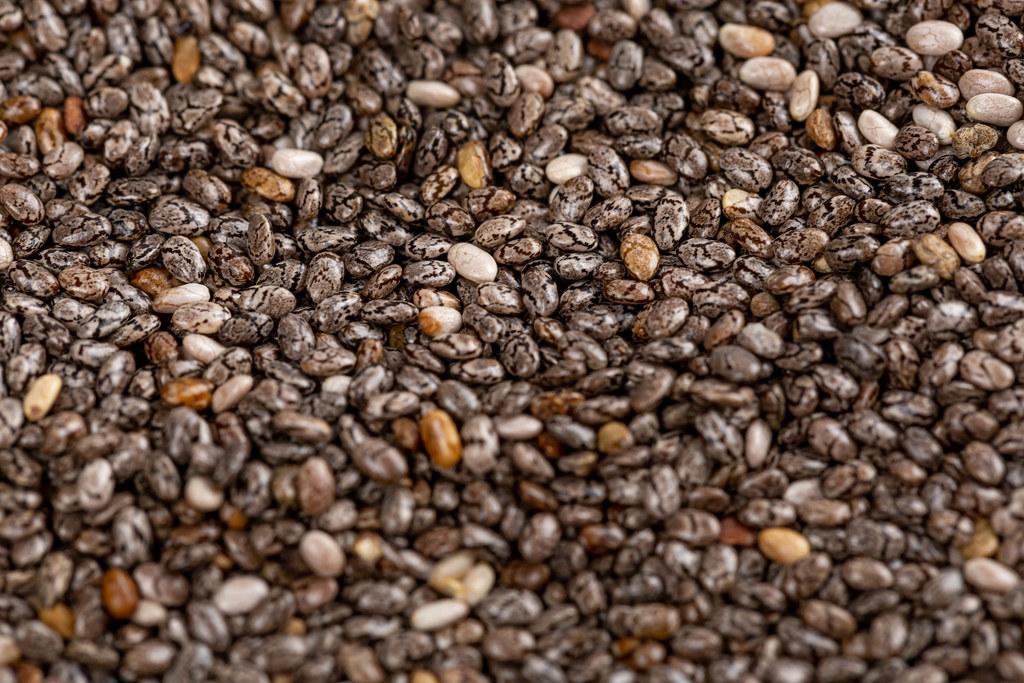 The chia seeds, healthy background