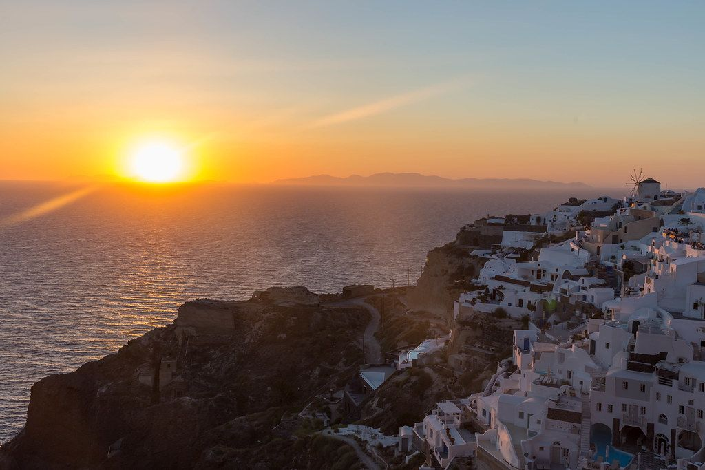 The famous sunsets of Santorini. An attraction for tourists from all over the world