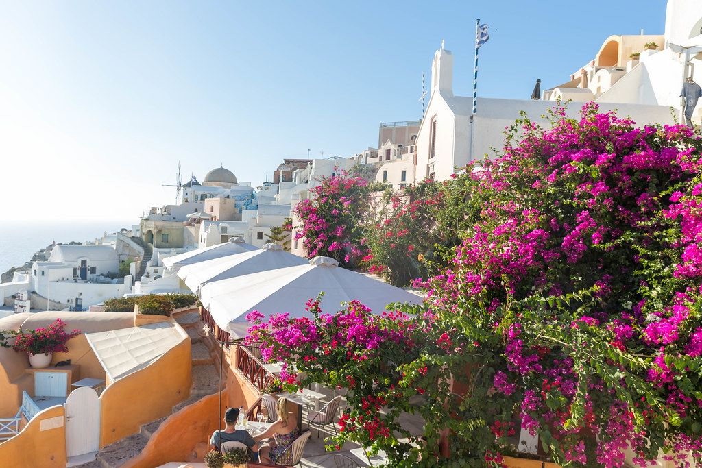 The good life in Santorini: bars with terraces and blooming bougainvillea plants in small alleys