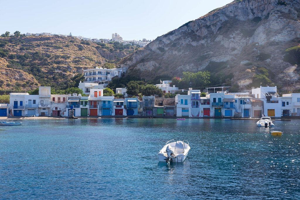 The scenic fishing village of Klima on the Greek island of Milos with colourful boathouses by the sea